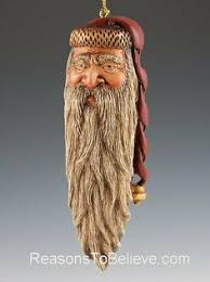 santa wood carved ornament with bald