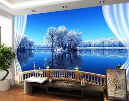 beautiful lake scenery outside the window 3d wallpaper modern for