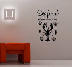 high quality fish wall decal buy cheap fish wall decal lots from fish seafood vinyl wall decal decorative fish lobster seafood signboard mural art wall sticker restaurant kitchen