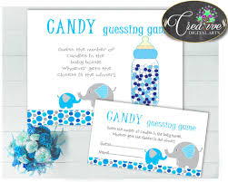 candy guessing game sign and tickets for baby shower boy with aqua