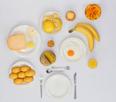 photos of monochromatic breakfasts featuring food items of the