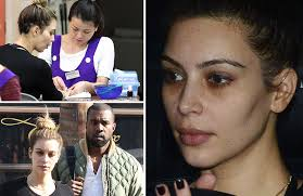 kim kardashian goes make up free as the gets her nails done and