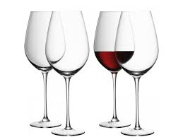 red wine goblet x 4 clear handmade glass wine collection 850ml