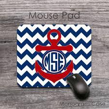 mousepad designen nautical anchor design blue zig zag mousepad monogramcase