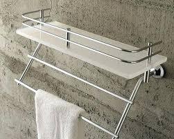 phenomenal bathroom glass shelf with towel bar wall mounted single