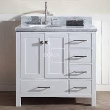 wholesale 36 inch left offset white bathroom vanity cabinet for