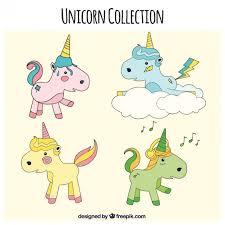 sketches enjoyable unicorns in different poses vector premium