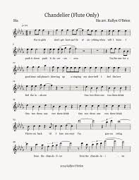 Download Chandelier By Sia Flute Sheet Music Chandelier Sheet Music