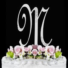 m cake topper m sparkle silver wf monogram wedding cake toppers