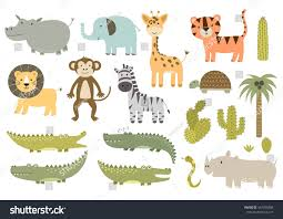 cute isolated safari animals collection great stock vector