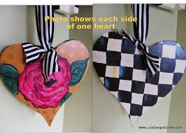 hand painted hearts heart ornaments or door hangers stripes