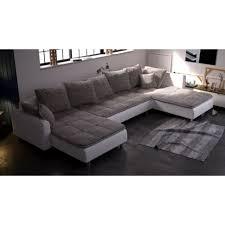 canape 8 places canapé d angle panoramique en u dante beige et blanc 7 à 8 places