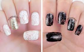 sweet vs sultry lace nails with sally hansen big smoky top coat