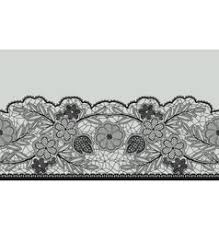 black lace ribbon abstract seamless black lace ribbon with floral vector image
