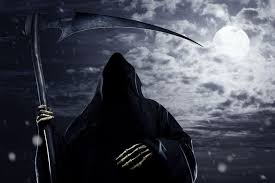 faceless scythe sky moon creepy horror