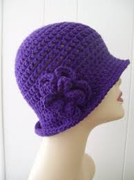 cap designer designer handmade crochet cloche hat purple hello courage