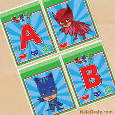free printable pj masks alphabet banner pack party fun