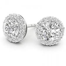 diamond earrings uk 18ct white gold brilliant halo style earring setting