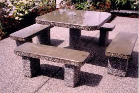 Concrete Patio Tables And Benches Classic Square Patio Table Set Dominion Precast