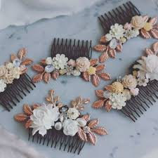 wedding hair combs large gold wedding hair comb white floral hair pin for