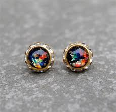 opal earrings stud black rainbow opal diamond rhinestone stud earrings vintage