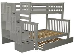 bunk beds twin over full stairway gray full trundle 965