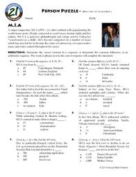 person puzzle algebra arithmetic sequences m i a worksheet