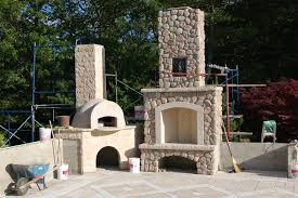outdoor pizza oven and fireplace stone masonry near boston