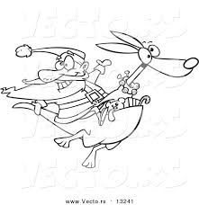 vector of a cartoon santa riding a kangaroo coloring page