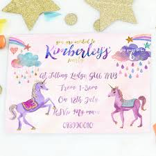 birthday party invitations unicorn girl s birthday party invites by summery