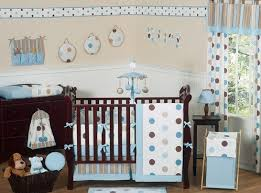 blue and brown modern polka dot baby bedding 9 pc crib set only