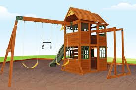 aero climbing frame large play deck swings slide and monkey bars