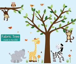 amazon com fabric safari pride jungle tree wall decals jungle amazon com fabric safari pride jungle tree wall decals jungle stickers with green leaves baby