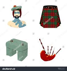 highlander scottish viking tartan kilt scottish stock vector