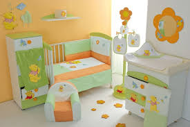 Yellow Nursery Decor Appealing Orange And Yellow Color Applied In White Walling Unit Of