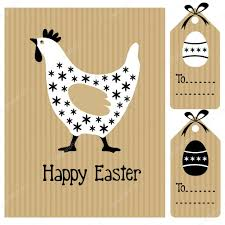 Designerk Hen Happy Easter Card With Hen And Eggs Invitation Black White