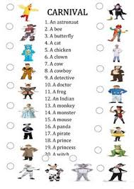 20 free esl costumes worksheets