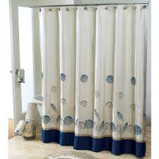 wonderful white fabric and blue base extra long shower curtain added stainless stell rods also white freestanding tubs in open views modern bathroom