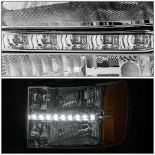 led strip lights headlights 13 gmc sierra led strip replacement crystal headlights chrome