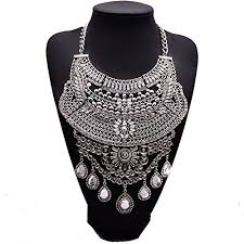 chunky necklace pendants images Girl era multi rhinestone vintage jewelry pendant knit chain jpg