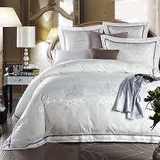 white bed set jacquard silk home textile bedding set luxury 4 6pcs