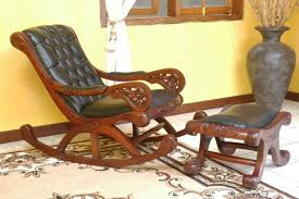 Wood And Leather Chair With Ottoman Design Ideas Creative Idea Vintage Brown Varnished Wood Rocking Chair With