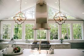 Quatrefoil Ceiling Light Vaulted Kitchen Ceiling With Beadboard Trim Transitional Kitchen