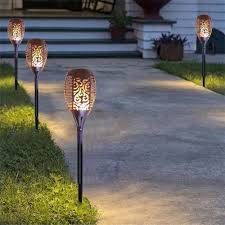 2 pack solar powered 30 inch landscape lights with flickering led