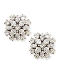diamond cluster earrings lyst paul morelli 18k white gold diamond cluster stud earrings in