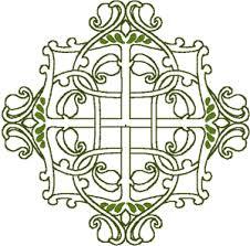 celtic floral cross embroidery design
