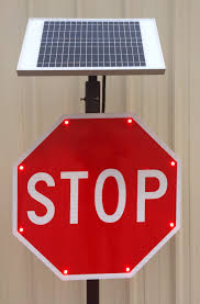 stop sign with led lights solar powered led stop sign