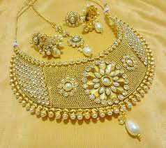 wedding choker necklace images Buy designer white wedding bridal choker necklace set online jpg