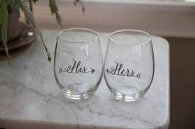 his hers wine glasses his hers arrow design stemless wine glass waterfalldesigns