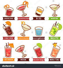 cosmopolitan clipart cocktails drinks glasses vector flat icons stock vector 603592835